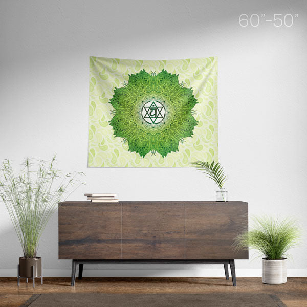 Heart Chakra Mandala Wall Tapestry - Medium