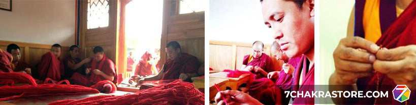 Tibetan Buddhist Making Lucky Rope String Bracelets