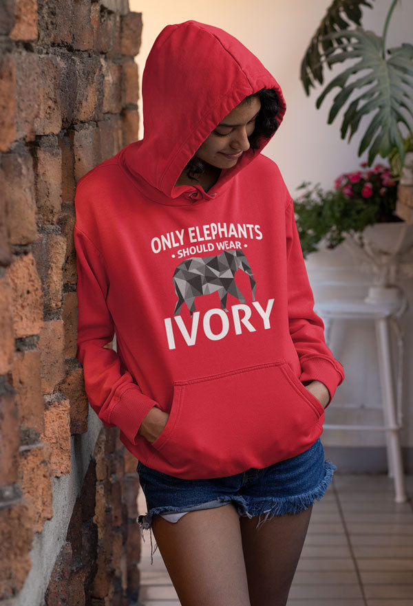 Elephants Wear Ivory Elephant Unisex Hoodie Sweater Long Sleeve