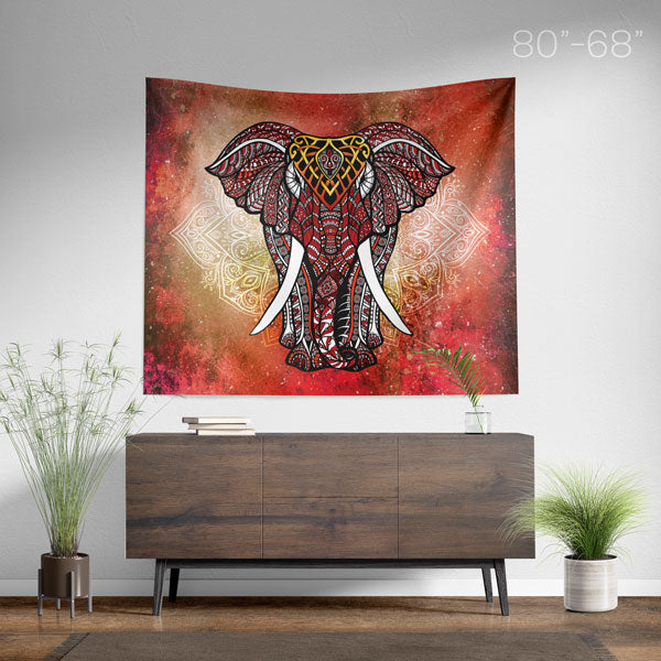 Red Elephant Mandala Wall Tapestry Large