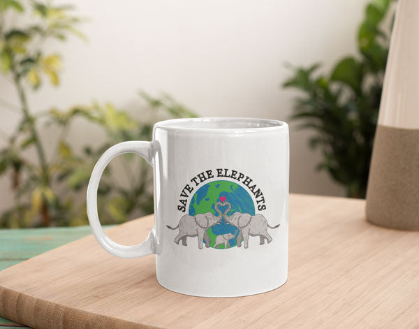 Save The Elephants Inspirational Coffee Chocolate Tea Elephant Mug Gift