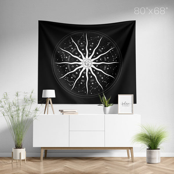 Sun and Moon 12 Constellations Mandala Wall Tapestry Large