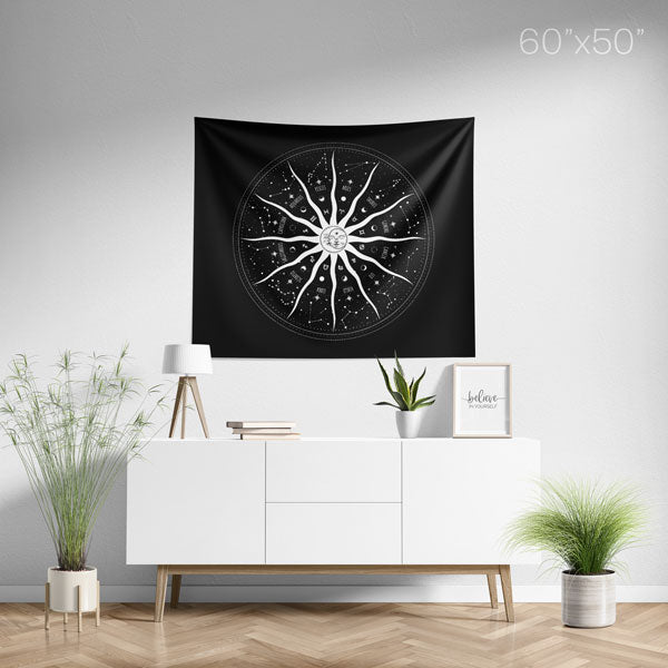 Sun and Moon 12 Constellations Mandala Wall Tapestry - Medium