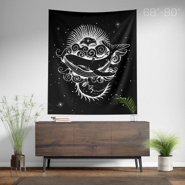 Sun and Moon Whale Spiritual Wall Tapestry - Large