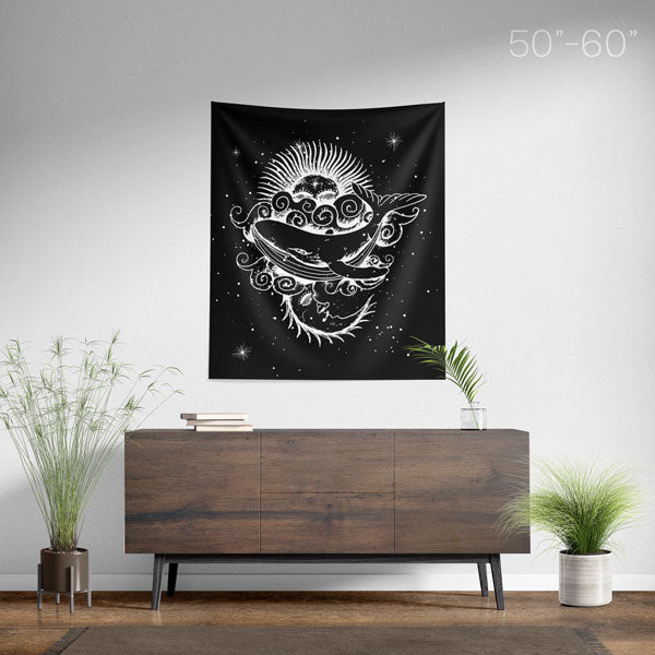 Sun and Moon Whale Spiritual Wall Tapestry - Medium