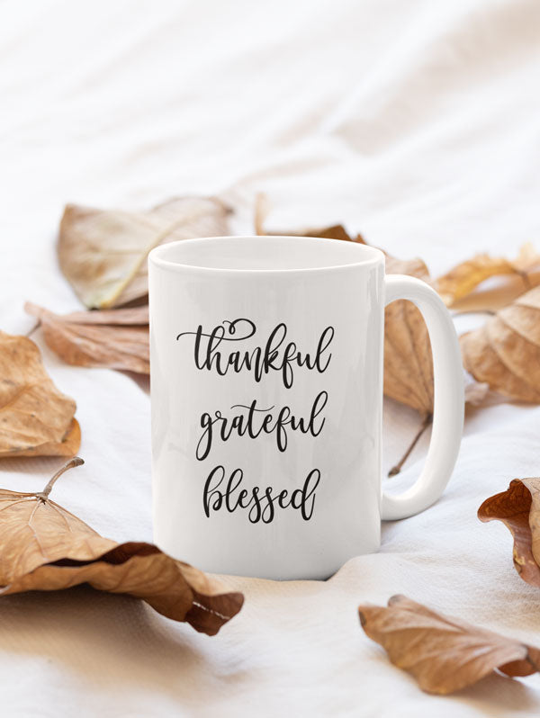 Thankful Grateful Blessed Spiritual Yoga Coffee Mug Gift