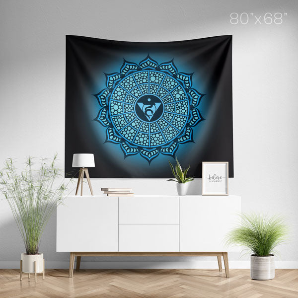 Throat Chakra Mandala Spiritual Wall Tapestry Home Decor - Large