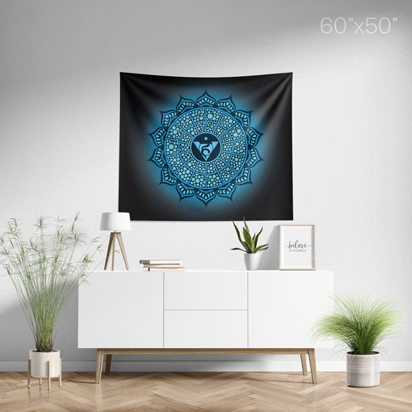 Throat Chakra Mandala Spiritual Wall Tapestry Home Decor - Medium
