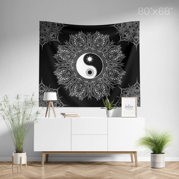 Yin Yang Black and White Mandala Wall Tapestry Spiritual Home Decor - Large