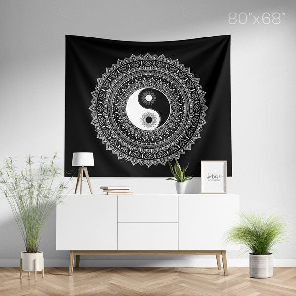 Yin Yang Black White Mandala Tapestry Large