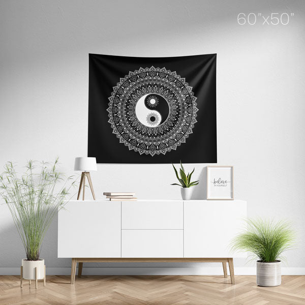 Yin Yang Black White Mandala Tapestry Medium