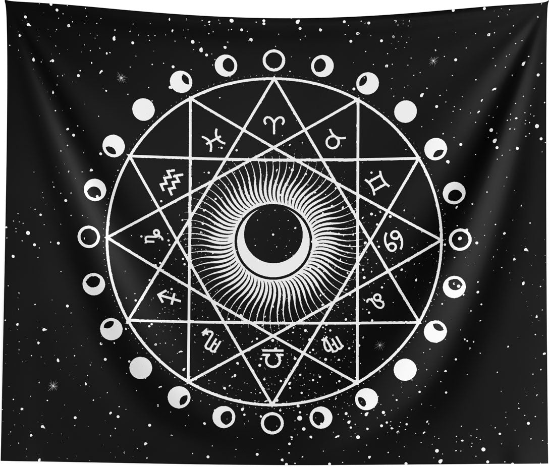 Zodiac Astrology Horoscope Mandala Wall Tapestry