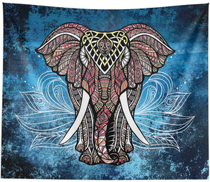 White Lotus Elephant Wall Tapestry