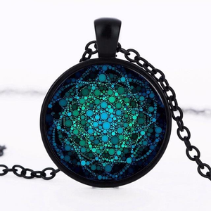 Flower of Life Glass Necklace - 7 Chakra Store