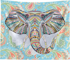 Ethnic Elephant Blue Wall Tapestry