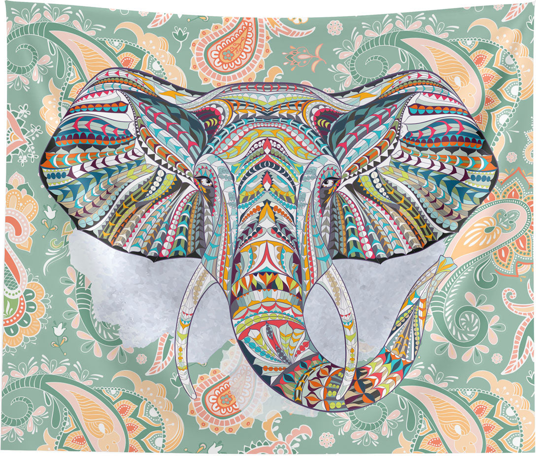 Ethnic Elephant Green Wall Tapestry Home Decor Wall Hanging
