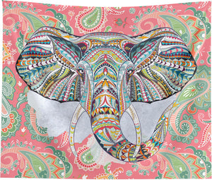 Ethnic Elephant Red Wall Tapestry