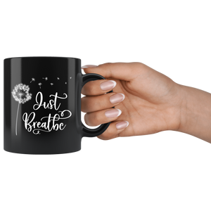Just Breathe Black Mug