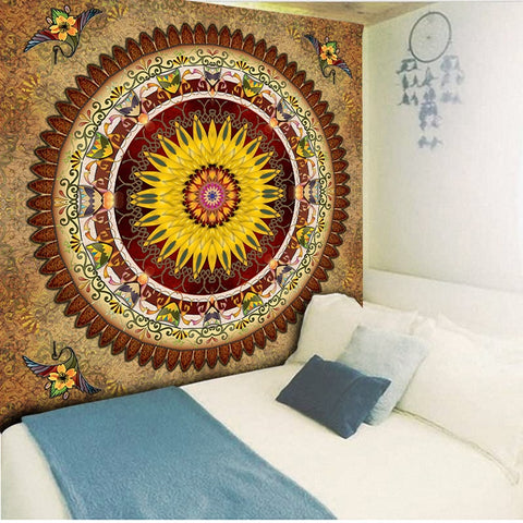 Red Gold Mandala Tapestry