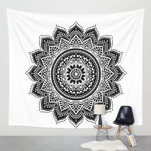 Black and White Mandala Lotus Tapestry - 7 Chakra Store