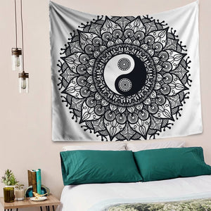 Black and White Yin Yang Mandala Tapestry - 7 Chakra Store
