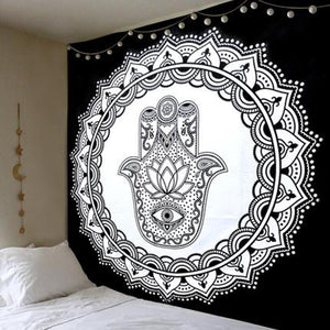 Black and White Hamsa Hand Mandala Tapestry - 7 Chakra Store