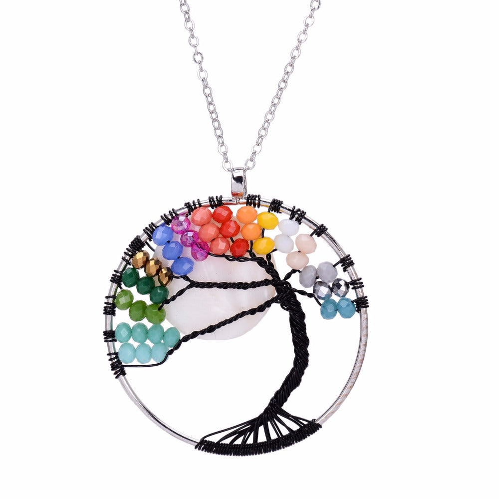 7 Chakras Black Tree Of Life Necklace - 7 Chakra Store