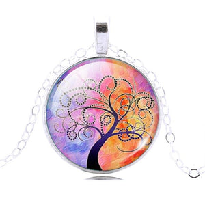 Tree Of Life Glass Necklace - 7 Chakra Store