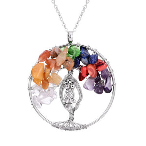 Charming Owl Tree of Life Necklace - 7 Chakra Store