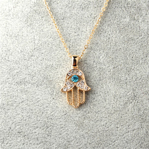 Crystal Evil Eye Hamsa Hand Necklace - 7 Chakra Store