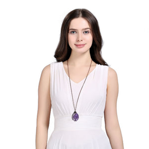 Drop Shaped Crystal Necklace - 7 Chakra Store