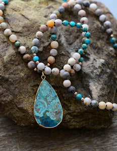 Blue Ocean Teardrop Boho Necklace - 7 Chakra Store