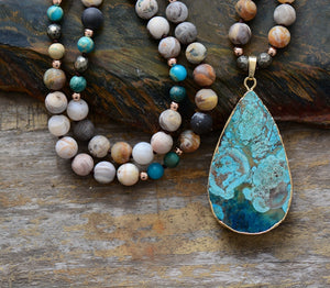 Blue Ocean Teardrop Necklace - 7 Chakra Store