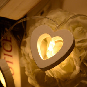 Wooden Heart Fairy Lights - 10 Warm LEDs - 7 Chakra Store