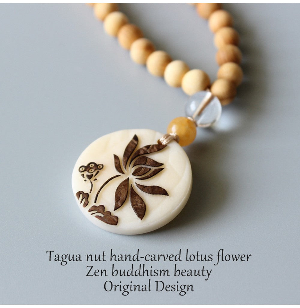 Zen Buddhism Tagua Nut Lotus Necklace - 7 Chakra Store