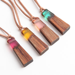 Natural Wood & Resin Necklaces with Leather Rope - 7 Chakra Store