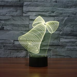 Holographic 7 Color Festive Bell 3D LED Lamp - 7 Chakra Store