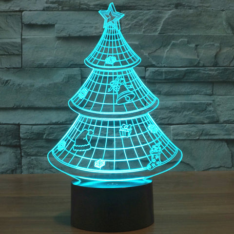 Holographic 7 Color Christmas Tree 3D LED Lamp