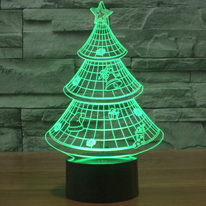 Holographic Christmas Tree.Holographic 7 Color Christmas Tree 3d Led Lamp