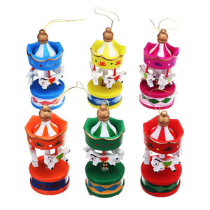 Merry-Go-Round Wooden Horse Carousel Ornaments (6Pcs) - 7 Chakra Store