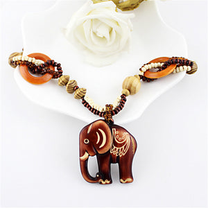 Wooden Elephant Ethnic Necklace - 7 Chakra Store