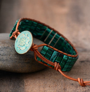 Malaya Malachite Leather Wrap Boho Bracelet - 7 Chakra Store