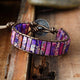 Darna Purple Jasper Leather Boho Wrap Bracelet