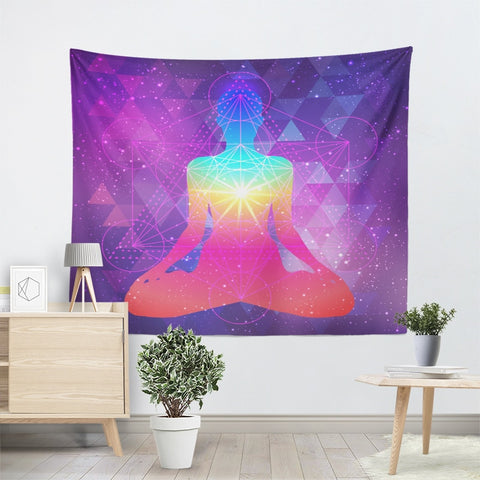 Sacred Geometry Purple Mandala Tapestry