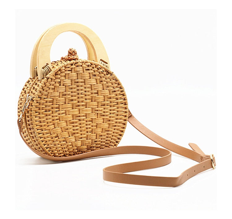 Perdana Top-Handle Crossbody Boho Straw Bag