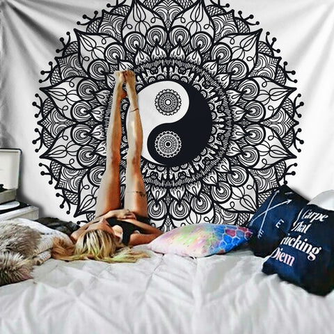 Black and White Yin Yang Mandala Tapestry