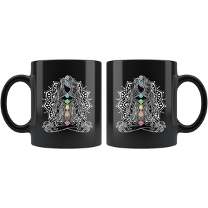 7 Chakras Meditation Black Mug
