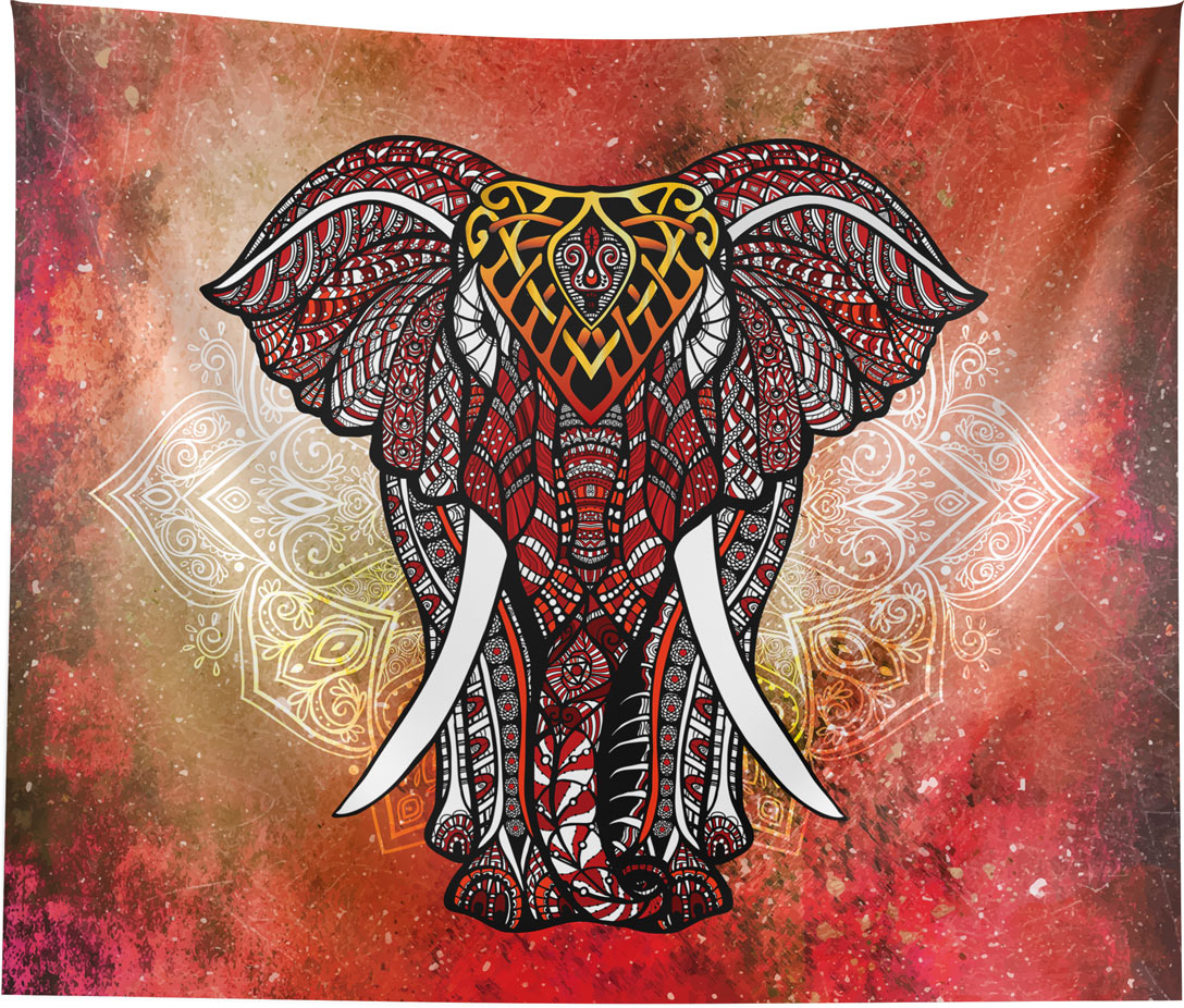 Red Elephant Mandala Wall Hanging Tapestry Home Bedroom Office Decor