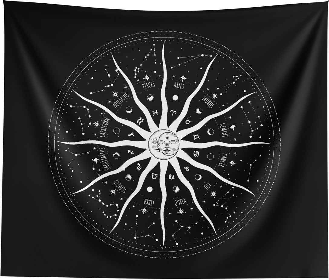 Sun and Moon 12 Constellations Mandala Wall Tapestry