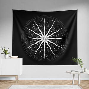 Sun and Moon Zodiac Mandala Wall Tapestry